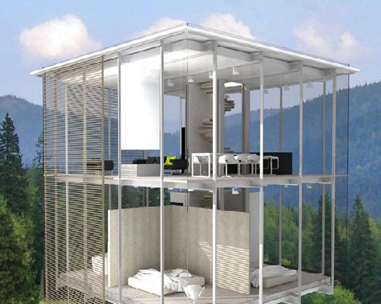 Glass House Layout Clasic Design
